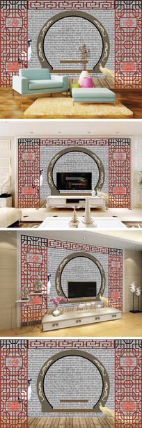 3D立体砖墙仙鹤背景墙