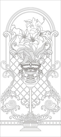 百合花瓶欧式花纹雕刻图案 CDR