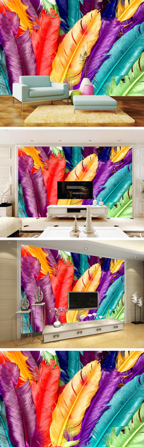 彩色羽毛背景墙