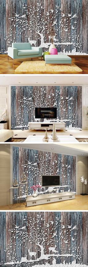 浮雕树林麋鹿木纹背景墙