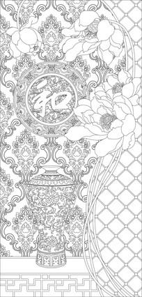 和花瓶欧式花纹雕刻图案 CDR