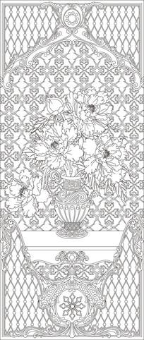 花瓶花纹玄关雕刻图案 CDR