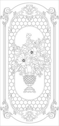 花瓶欧式花纹雕刻图案 CDR