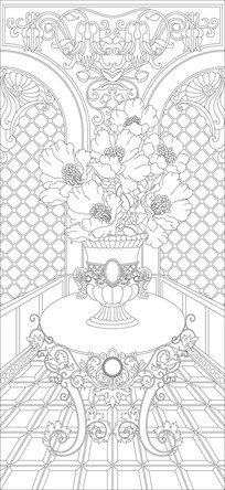 花瓶桌子玄关雕刻图案 CDR