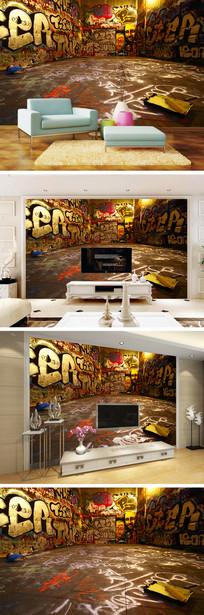 街头个性涂鸦背景墙 TIF