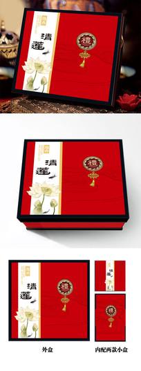 经典红色典雅中秋月饼包装礼盒