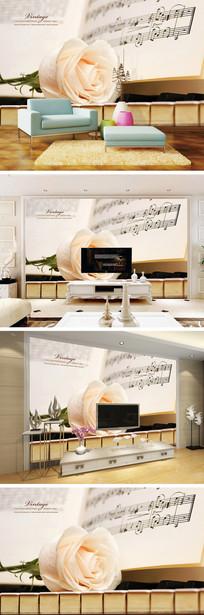 玫瑰钢琴五线谱背景墙