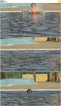 美女跳入游泳池实拍视频素材