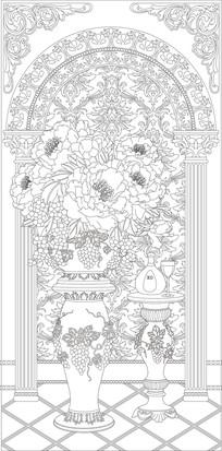 欧式花瓶立柱雕刻图案 CDR
