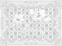 欧式花纹牡丹背景墙雕刻图案