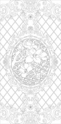 欧式花纹玉兰玄关雕刻图案