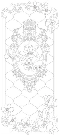 鲜花欧式花纹雕刻图案