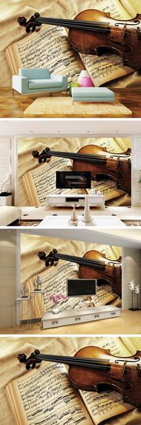 小提琴五线谱背景墙