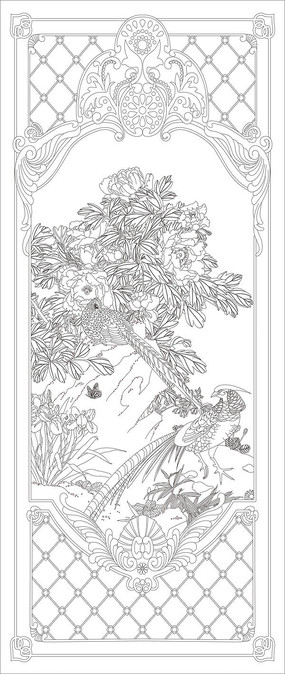 野鸡花鸟花纹玄关雕刻图案