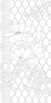 玉兰花纹欧式玄关雕刻图案