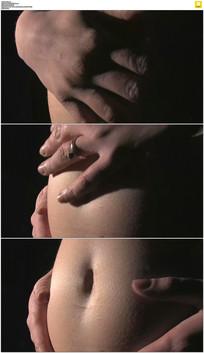 孕妇大肚子实拍视频素材