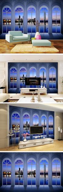 3D立体窗户夜景背景墙