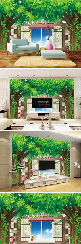 3D立体大树窗户背景墙