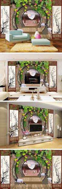 3D立体弧形门仙鹤背景墙