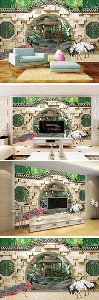 3D立体弧形门仙鹤风景背景墙