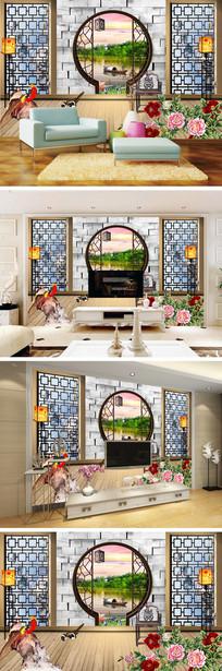 3D立体门窗牡丹风景背景墙
