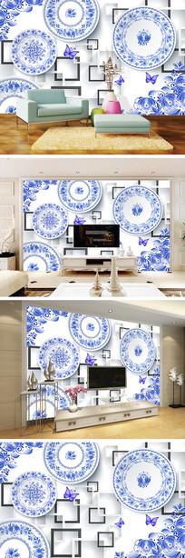 3D立体青花瓷盘子背景墙