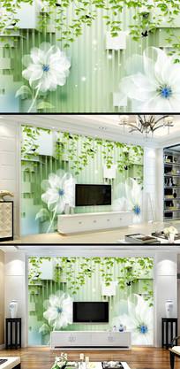 3D绿叶白花电视背景墙