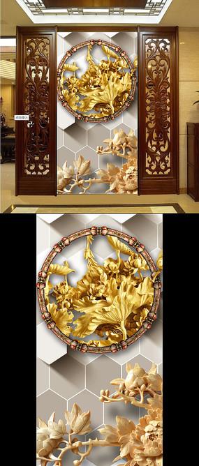 3D木雕荷花图立体玄关
