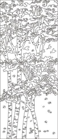 白桦林背景墙雕刻图案