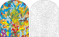 彩色玻璃花纹雕刻图案 CDR