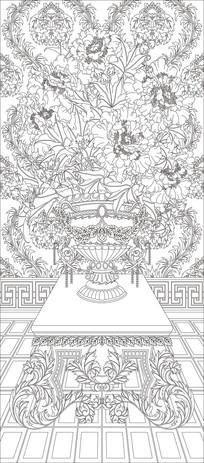 花朵欧式花瓶玄关雕刻图案 CDR