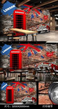 伦敦红色电话亭酒吧背景墙
