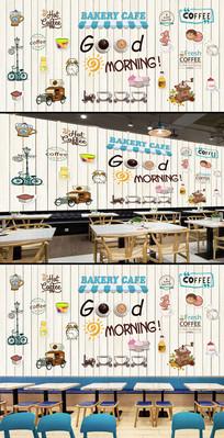 欧美时尚木板咖啡店背景墙