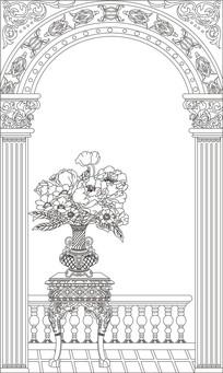 欧式花瓶拱门雕刻图案