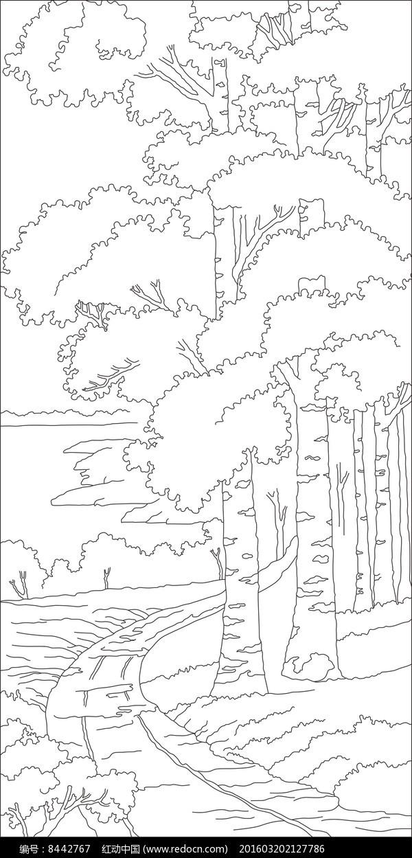 树林小路雕刻图案