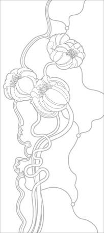 鲜花花纹雕刻图案