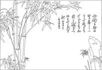 竹子背景墙雕刻图案