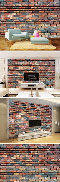 3D立体彩色砖墙背景墙