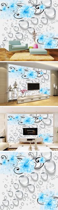 3D立体水珠花卉背景墙