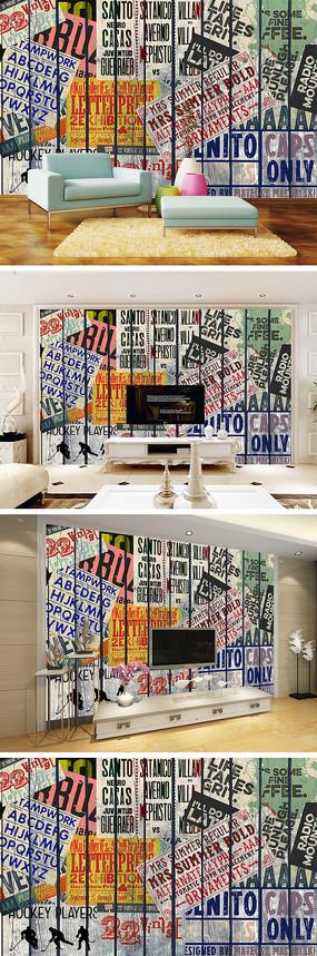 3D立体英文木板背景墙