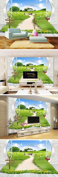 3D立体圆门草地风景背景墙