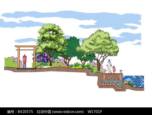 滨水景观设计断面图片