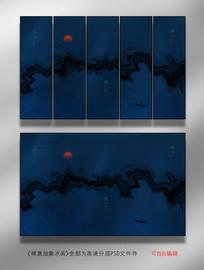 抽象禅意水墨背景画