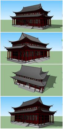 传统风格寺庙大雄宝殿SU模型