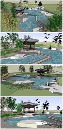 古典园林规划亭子及景观