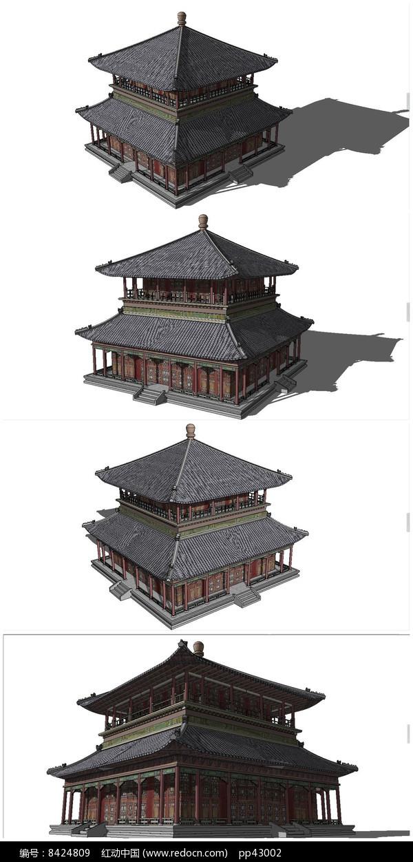 古典中式茶楼SU模型素材图片