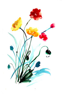国画鲜艳小花设计用素材
