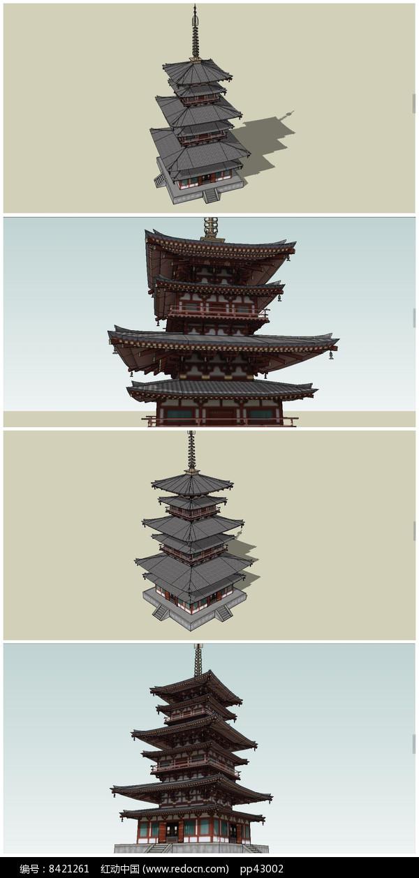 汉代风格古塔SU模型图片