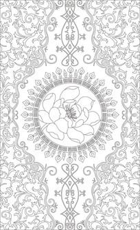 荷花欧式花纹玄关雕刻图案