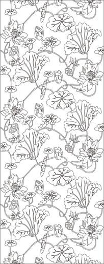 荷花叶子雕刻图案